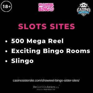 """Feature image for Showreel Bingo Sister Sites article with text """"500 Mega Reel. Exciting Bingo Rooms. Slingo"""""""