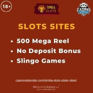 "Feature image for Simba Slots Sister Sites article with text ""500 Mega Reel. No Deposit Bonus. Slingo Games"""