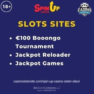 """Feature image for Spin Up Casino article with text """"€100 Booongo Tournament. Jackpot Reloader. Jackpot Games"""""""