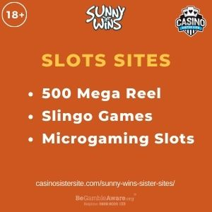 """Feature image for Sunny Wins Sister Sites article with text""""500 Mega Reel. Slingo Games. Microgaming Slots."""""""