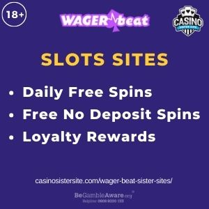 """Feature image for Wager Beat Sister Sites article with text""""Daily Free Spins. Free No Deposit Spins. Loyalty Rewards"""""""