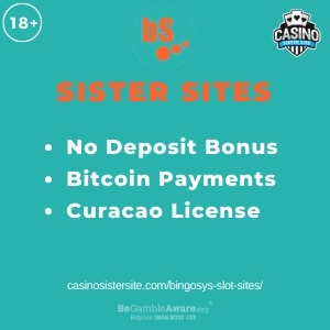 """Feature image for Bingosys Slot Sites article with text """"No Deposit Bonus. Bitcoin Payments. Curacao License"""""""