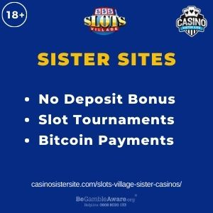 """Feature image for Slots Village Sister Casinos with text """"No Deposit Bonus. Slot Tournaments. Bitcoin Payments."""""""