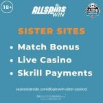 """Feature image for AllSpinsWin Sister Casinos article with text """"Match Bonus. Live Casino. Skrill Payments."""""""