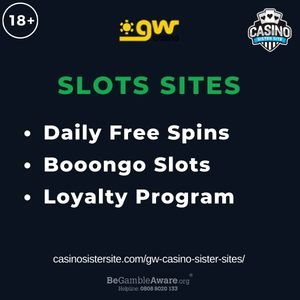 """Feature image for GW Casino Sister Sites article with text """"Daily Free Spins. Booongo Slots. Loyalty Program"""""""