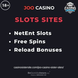 """Feature image for Joo Casino Sister Sites article with text """"NetEnt Slots. Free Spins. Reload Bonuses"""""""