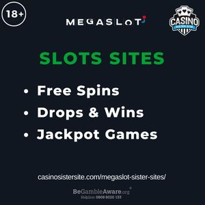 """Feature image for Megaslot Sister Sites article with text """"Free Spins. Drops & Wins. Jackpot Games"""""""