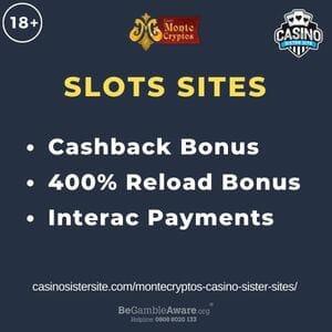 "Feature image for Montecryptos Casino Sister Sites article with text ""Cashback Bonus. 400% Reload Bonus. Interac Payments"""