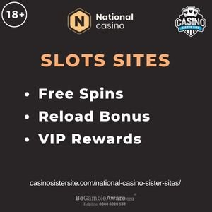 """Feature image for National Casino Sister Sites article with text """"Free Spins. Reload Bonus. VIP Rewards"""""""