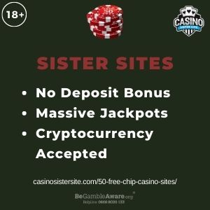 """Feature image for $50 Free Chip Casino Sistes article having text """"No Deposit Bonus. Massive Jackpots. Cryptocurrency Accpeted."""""""